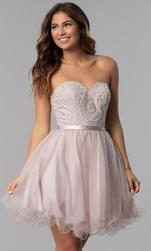 Image of dusty pink short strapless sweetheart hoco dress. Style: DQ-3014 Front Image