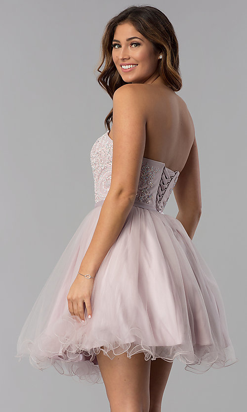 Image of dusty pink short strapless sweetheart hoco dress. Style: DQ-3014 Back Image