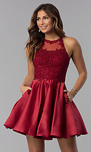 Image of high-neck short homecoming dress with lace applique. Style: DQ-3028 Detail Image 1