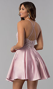 Image of high-neck short homecoming dress with lace applique. Style: DQ-3028 Detail Image 5