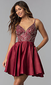 Image of short embellished-bodice homecoming dress. Style: DQ-3039 Front Image