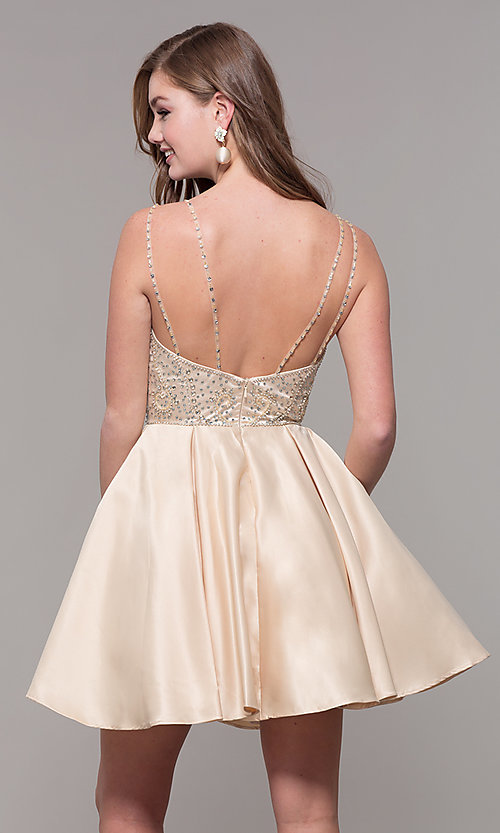 Image of short embellished-bodice homecoming dress. Style: DQ-3039 Detail Image 5
