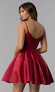 Image of embroidered-lace-applique short homecoming dress. Style: DQ-3037 Detail Image 3