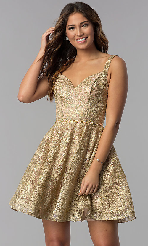 Image of short gold embroidered a-line homecoming dress. Style: DQ-3055 Front Image