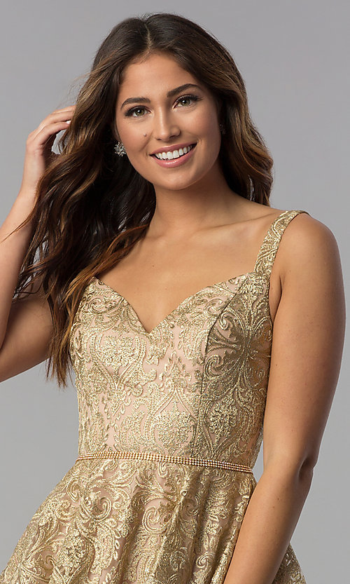 Image of short gold embroidered a-line homecoming dress. Style: DQ-3055 Detail Image 1