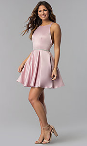 Image of high-neck short open-back homecoming dress. Style: DQ-3062 Detail Image 1