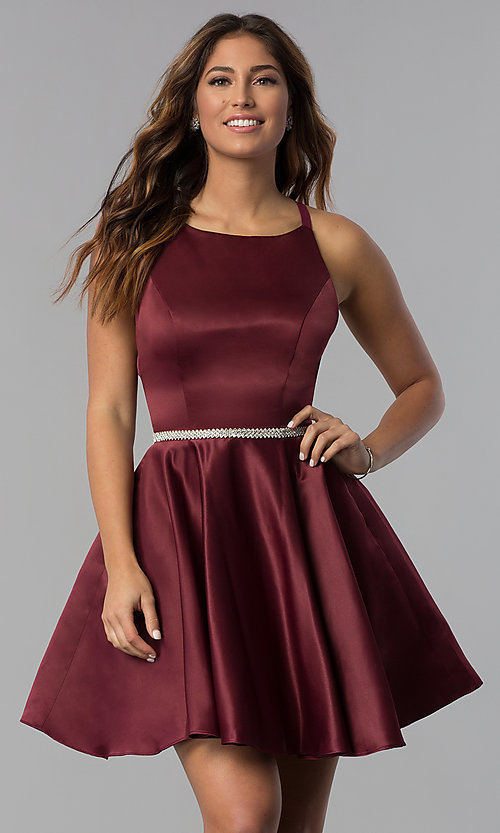 Image of high-neck short open-back homecoming dress. Style: DQ-3062 Detail Image 2