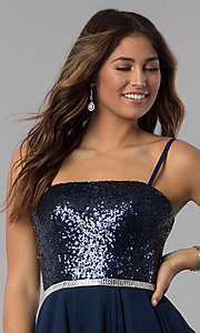 Image of navy short strapless sequin-bodice homecoming dress. Style: DQ-3045 Detail Image 1