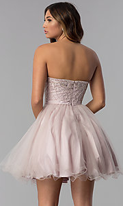Image of strapless short beaded-bodice homecoming dress. Style: DQ-3056 Back Image