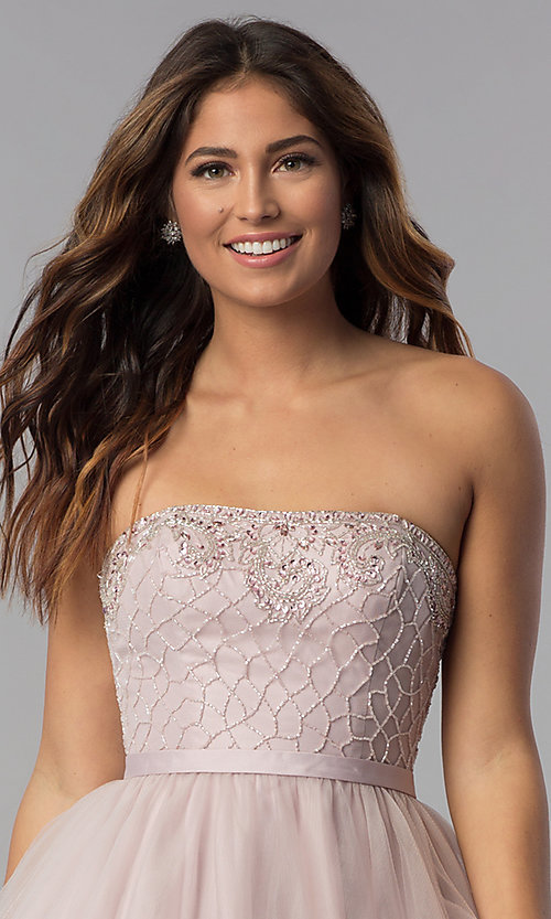 Image of strapless short beaded-bodice homecoming dress. Style: DQ-3056 Detail Image 1