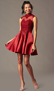 Image of high-neck lace-applique homecoming dress. Style: DQ-3069 Front Image