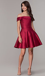 Image of off-the-shoulder a-line satin homecoming dress. Style: JT-799 Detail Image 3