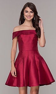 Image of off-the-shoulder a-line satin homecoming dress. Style: JT-799 Detail Image 2