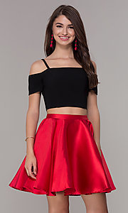 Image of two-piece short cold-shoulder homecoming dress. Style: JT-809 Front Image