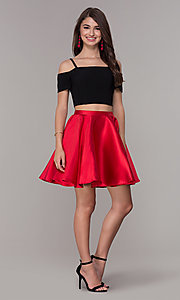 Image of two-piece short cold-shoulder homecoming dress. Style: JT-809 Detail Image 1