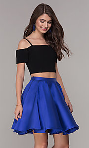 Image of two-piece short cold-shoulder homecoming dress. Style: JT-809 Detail Image 2