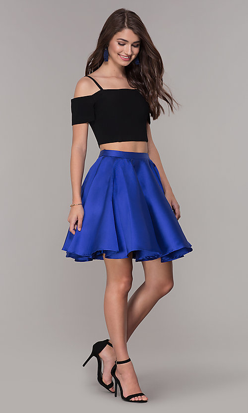 Image of two-piece short cold-shoulder homecoming dress. Style: JT-809 Detail Image 3