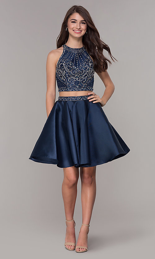 Image of two-piece navy blue homecoming dress. Style: JT-811 Detail Image 2
