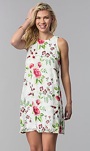 Image of embroidered short shift casual party dress. Style: ECI-518935-8250NL Front Image