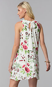 Image of embroidered short shift casual party dress. Style: ECI-518935-8250NL Back Image