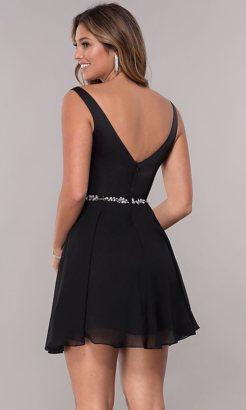 Image of chiffon short v-neck homecoming dress by PromGirl. Style: FB-PL-GS1601 Back Image