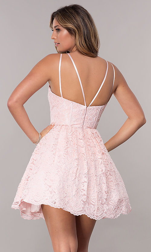 Image of lace short scalloped-hem homecoming dress. Style: FB-GS1602 Back Image