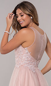 Image of embroidered-bodice short homecoming tulle dress. Style: FB-GS1607 Detail Image 2