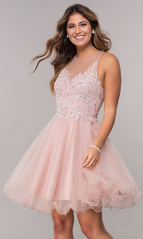 Image of embroidered-bodice short homecoming tulle dress. Style: FB-GS1607 Front Image