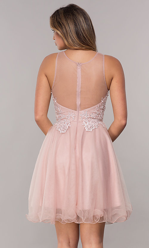 Image of embroidered-bodice short homecoming tulle dress. Style: FB-GS1607 Back Image