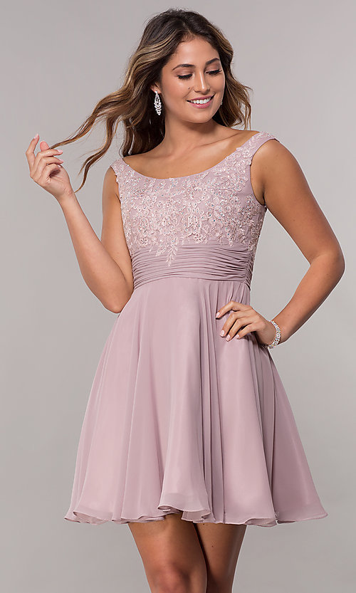 Image of sabrina-neckline short sleeveless homecoming dress. Style: FB-GS1612 Front Image