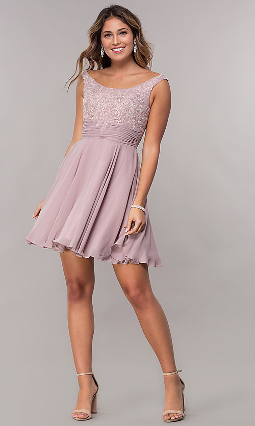 Image of sabrina-neckline short sleeveless homecoming dress. Style: FB-GS1612 Detail Image 2