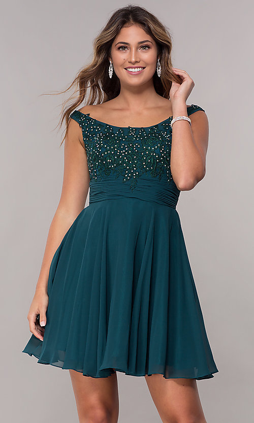 Image of sabrina-neckline short sleeveless homecoming dress. Style: FB-GS1612 Detail Image 3
