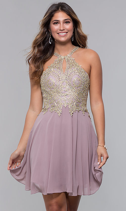 Image of applique-bodice short homecoming dress with keyhole. Style: FB-GS1615 Front Image