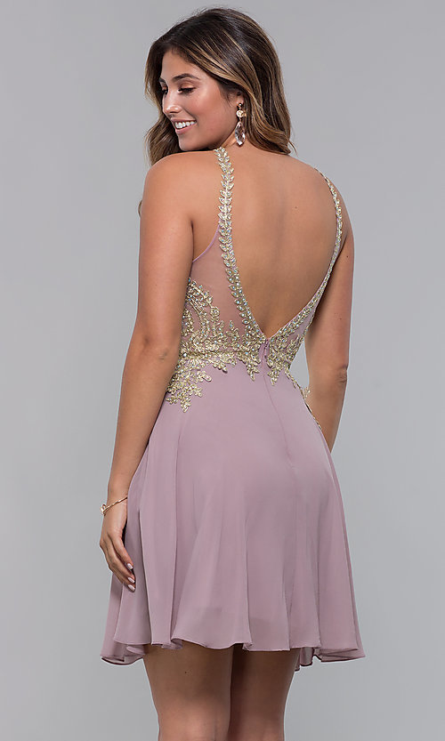 Image of applique-bodice short homecoming dress with keyhole. Style: FB-GS1615 Back Image