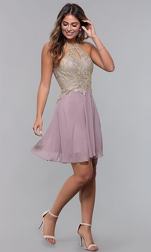 Image of applique-bodice short homecoming dress with keyhole. Style: FB-GS1615 Detail Image 3