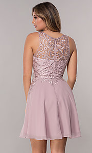 Image of embroidered-bodice chiffon homecoming short dress. Style: FB-GS1618 Back Image