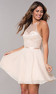 Image of high-neck embroidered-halter short homecoming dress. Style: FB-GS1621 Front Image