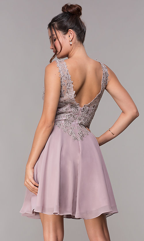 Image of short embroidered homecoming dress by PromGirl. Style: FB-PL-GS1622 Back Image