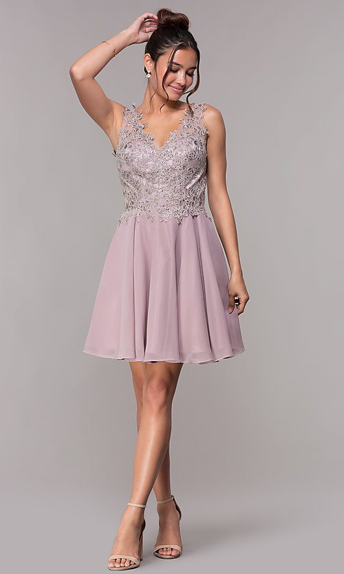 Image of short embroidered homecoming dress by PromGirl. Style: FB-PL-GS1622 Detail Image 3