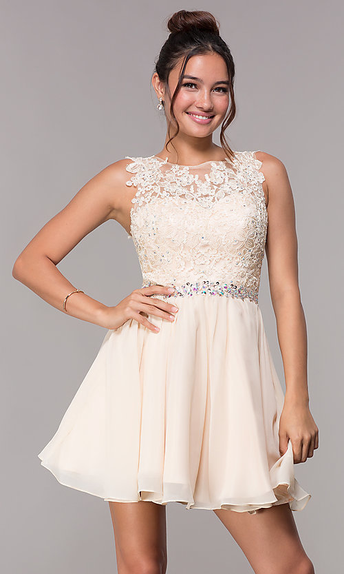 Image of short hoco embroidered-lace-applique dress. Style: FB-GS1623 Detail Image 1
