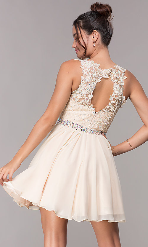 Image of short hoco embroidered-lace-applique dress. Style: FB-GS1623 Back Image