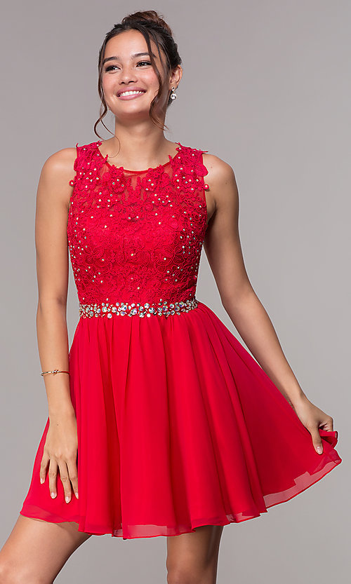 Image of short hoco embroidered-lace-applique dress. Style: FB-GS1623 Front Image