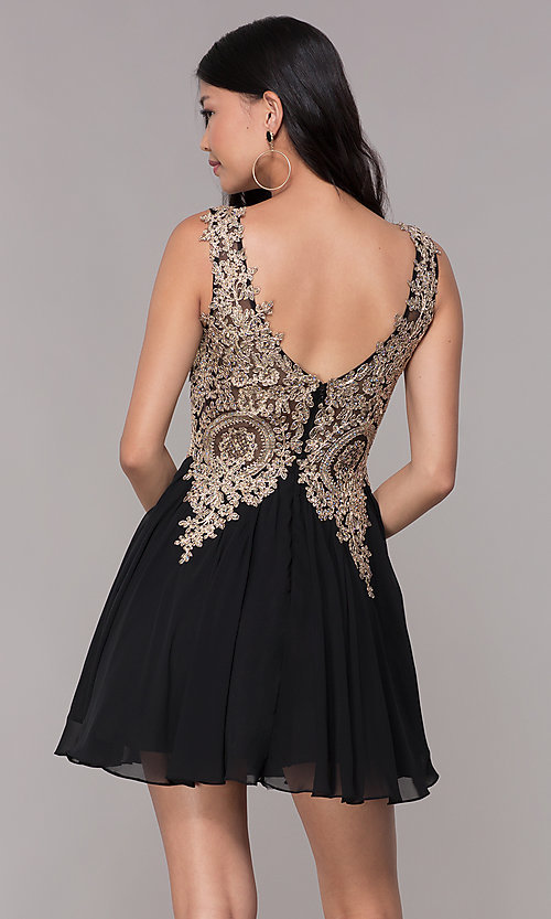 Image of lace-applique short v-neck chiffon homecoming dress. Style: FB-GS1625 Back Image