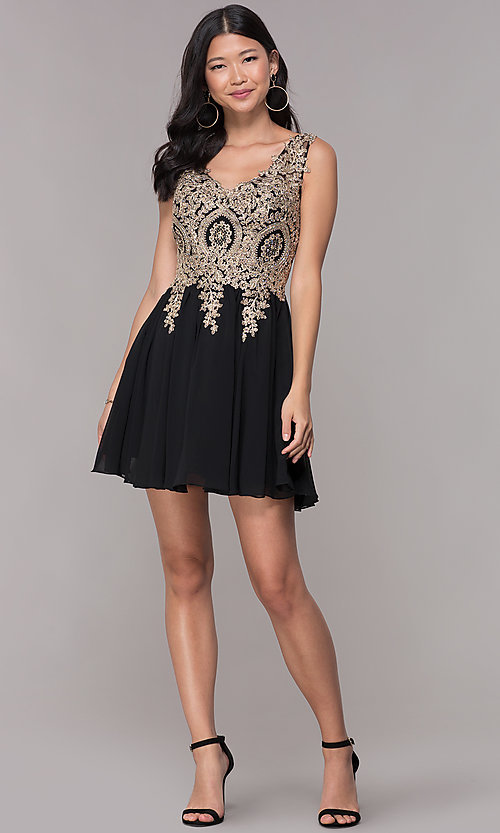 Image of lace-applique short v-neck chiffon homecoming dress. Style: FB-GS1625 Detail Image 2