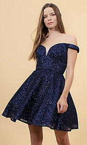 Image of off-the-shoulder glitter-mesh short homecoming dress. Style: FB-GS1626 Detail Image 2