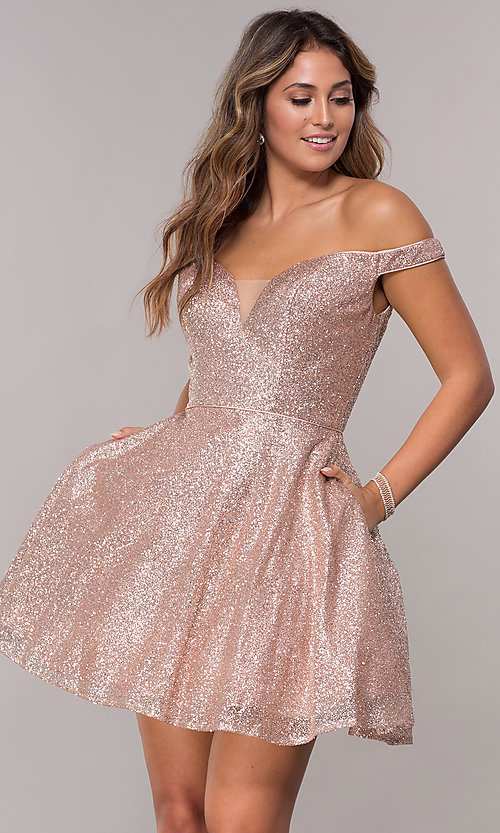 Image of off-the-shoulder glitter-mesh short homecoming dress. Style: FB-GS1626 Front Image