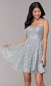 Image of strapless silver glitter-print homecoming dress. Style: FB-GS1627 Front Image