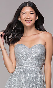 Image of strapless silver glitter-print homecoming dress. Style: FB-GS1627 Detail Image 1