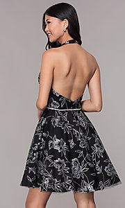 Image of silver glitter-print homecoming black halter dress. Style: FB-GS1629 Back Image
