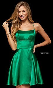 Image of open-back silk homecoming dress by Sherri Hill. Style: SH-52156 Front Image